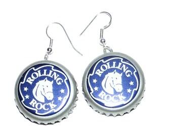 Rolling Rock Beer Bottle Cap Earrings Jewelry