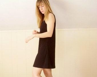 30% off ... Black SCUBA Knit Sleeveless Mini Fitted Shift Dress Vintage 90s - SMALL S