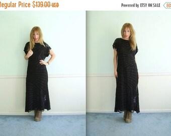 30% off ... Black Beaded Silk Evening Gown Dress with Skirted Fishtail Mermaid Hem Vintage 80s MEDIUM M