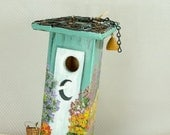 Teal Green Outhouse Birdhouse , Handmade , Hand Painted , Environmentally Friendly