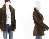 Vintage 1970s Leather Jacket Brown Boho Tie Waist Coat Made in Argentina