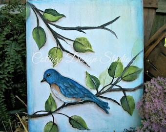 bluebird painting, bluebirds, home decor, wildlife decor, bird decor, wall decor, garden decor, cottage decor, country chic, french country