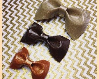 Rockabilly Bows Glitter Vinyl Hair Bows Rockabilly Hair Bow Pin Up Bow Sparkle Vinyl Bow Fall Bow Metal flake Bows Halloween Bows Gold Bows