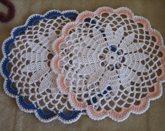 Hand made, crochet, coasters, set of two, new, ready to mail