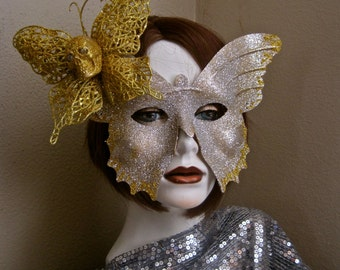 Skull Butterfly Mask Day of the Dead Gold and Silver Glitter Sparkle Masquerade Ball Halloween One of a Kind