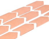 Copper Arrow Blank, 10 Raw Copper Arrow Stamping Pendant Tags With Chevron Charms (15x30x0.80mm) D484