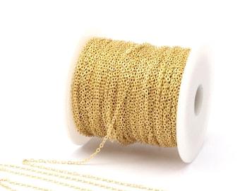 Brass Chain, Link Chain, 30 M - (1.5x2mm) Raw Brass Soldered Chain - ( Z001 )