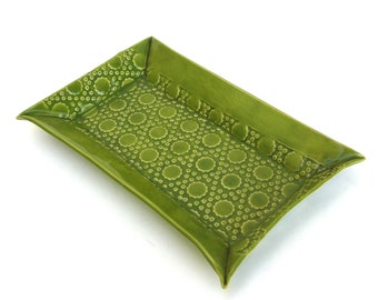 festive hand built lime green porcelain tray   ...long ceramic tray