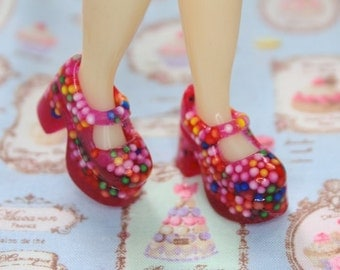 Blythe Pink with Cupcake Sprinkles Platform Mary Jane doll shoes