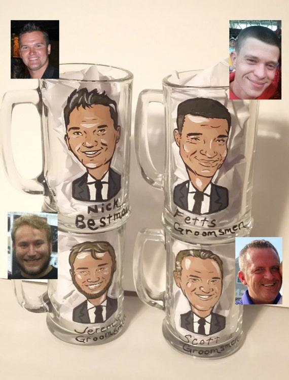 Custom Caricature Mugs, Wine Glasses, & Mason Jars