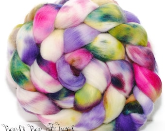 CANDY STORE - Wool roving, hand dyed Organic Polwarth combed top, spinning or felting supplies - 4.2 oz