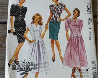 McCalls Pattern 5301 Misses Two Piece Dresses Size 12 14 16 UNCUT