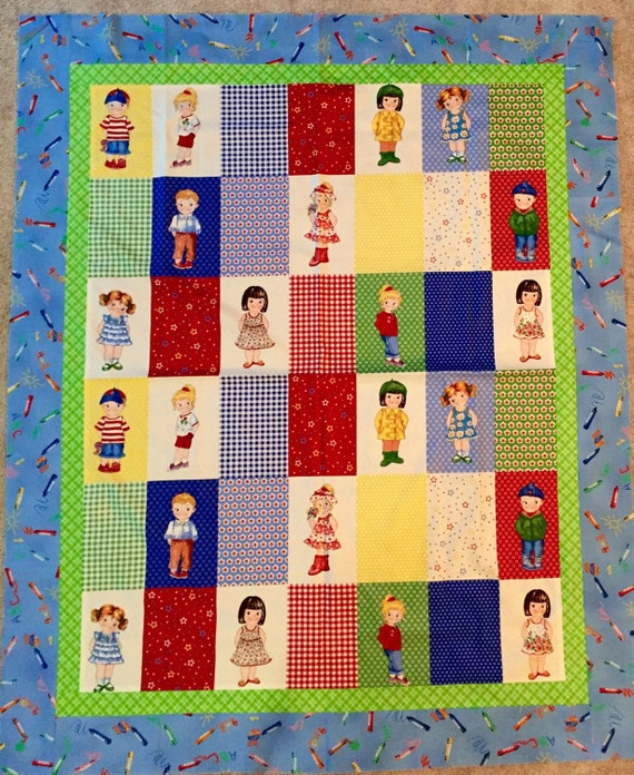 Items similar to fabric Paper Doll quilt EASY quilt Kit top binding + backing Fons & Porter ...