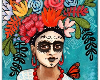 La Mariposa - Day of the Dead Frida Kahlo - Art Print - Art by Regina Lord