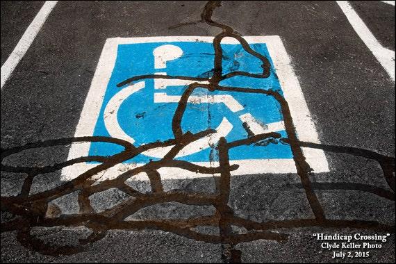 HANDICAP CROSSING, parking lot view, Clyde Keller Photo, Fine Art Print, Color, Signed