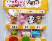 Cute Japanese Animal Bento Picks For Bento Lunch / Cupcake Toppers - Set Of 7 - Bear, Bunny Rabbit, Panda Bear, Dog, Frog, Cat, Elephant