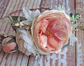 Blush Pink Rose Floral Crown for Bride