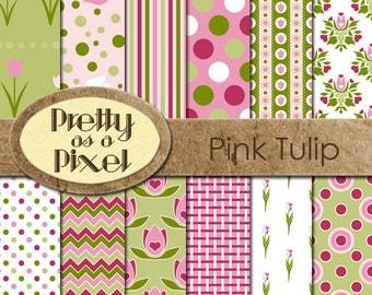Digital Paper Pack - Pink Tulips - INSTANT DOWNLOAD - Scrapbooking Backgrounds - 12 x 12 - Set of 12