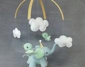 Elephant with Birds Mobile - Baby, Nursery, Mint, Blue, Gold, Handmade, Gift
