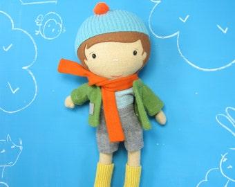 "Handcrafted STUDIO DOLL 15"" - Boy. Handmade, Doll, Girl, Boy, Toy, Plush, Children, Gift, Birds"