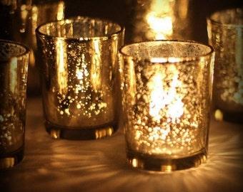 60 Gold Mercury Glass Votive Candle Holders Lot Wedding Reception Party Celebration Decor