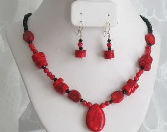 14k Gold-filled Chunky Red Coral with Black Crystal Necklace, and Earring Set, Bridal, Wedding, Gift, Bridesmaids, Women's Set