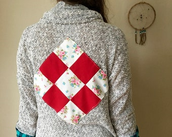 Cowl Neck Patchwork Square Knit Babydoll Style Hippie Bohemian Gypsy Sweater Cardigan Festival Eco Friendly Womens Size Small