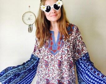 Boho Paisley Dashiki India Print Flowy Bell Sleeve Tunic Hippie Top Upcycled Eco Friendly Gypsy Woodstock One Size