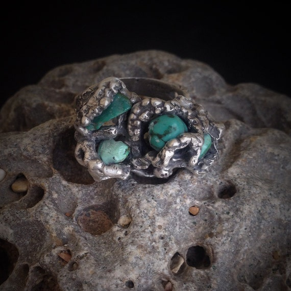 River Rock Ring - Sterling Silver Turquoise - inspired by holey river rocks in Texas - made in Austin,Tx