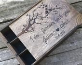 Three bottle wine box, wooden wine box, wooden wine crate, wedding wine box, Love birds wine box, anniversary wine box, box for 3 bottles