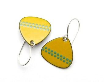Mustard Yellow Earrings - Yellow Enamel Earrings - Green Polka Dots - Enamel Jewelry - Enamel on Copper