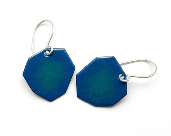Blue Green Earrings - Blue Green Enamel Earrings - Irregular Earrings