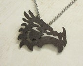 Grey Steel Dragon Pendant - Tribal Dragon, Dragon Necklace, Dragon Sigil, Game of Thrones, Dragon Jewelry, Mens Jewelry, Gifts For Him