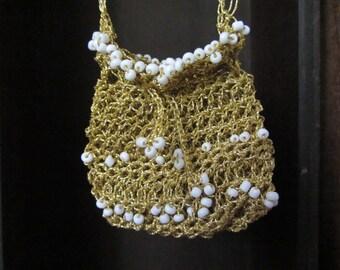 Crochet golden pouch, crochet romantic neck pouch, Bridal neck pouch, Bohemian neck pouch, Amulet pouch