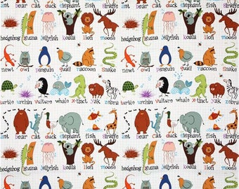 ABC with Me Alphabet Animals Fabric by Alexander Henry -