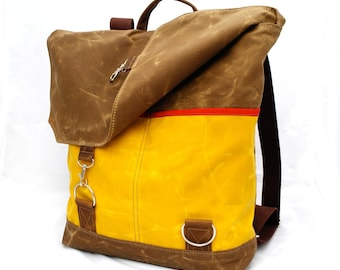 Waxed Canvas Backpack / Yellow and Walnut Waxed Canvas & Oiled Leather