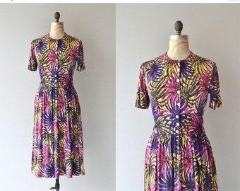 25% OFF.... Floral Fireworks dress | vintage 1940s dress | floral print 40s dress