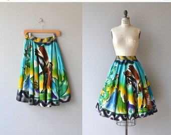 25% OFF.... Campeche skirt | 1950s mexican skirt | painted mexican 50s circle skirt