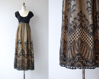 Young Edwardian dress | vintage 1970s maxi dress | crochet 70s maxi dress