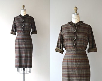 Stripe Study dress | vintage 1950s two-piece dress | cotton 50s blouse and skirt
