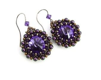 Purple Swarovski Rivoli Bead Drop Earrings, Handmade,Pinwheel Earrings,Swarovski Crystal Pearls, Oxidised Sterling Silver Ear Hooks