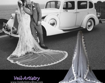 Mantilla Wedding Veil, Mantilla, Cathedral Veil, Mantilla Bridal Veil, Alencon Lace Veil, Pearl Veil, Lace Veil, Handmade Only
