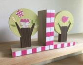 Tree Bookends, Bright Pink Accents, Kids Decor, Nursery Decor, eco friendly