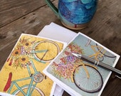 NOTE CARDS (blank set of 8, four of each design) For the Love of Bikes