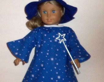 18 inch Doll Wizard Costume, Felt Wizard Hat, Long Blue Dress,  American Made, Girl Doll Clothes