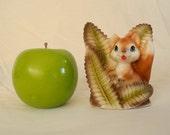 Vintage fox figurine, ceramic, porcelain, fox and ferns, 1960s, Japan
