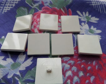 Vintage 8 Square White Buttons - Crafts
