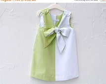 ON SALE Mint Linen Dress with Bow- Girls Dress - Modern Geometric Baby and Toddler Dress - Spring Kids (Ready to Ship 3T, Custom 1T 2T 4T)