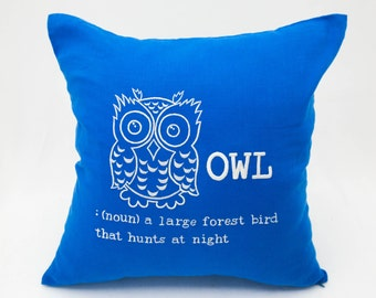 Owl Pillow Cover, Blue Linen Pillow White Owl Embroidery, Couch Pillow, Accent Pillow, Cushion Cover, Bird Pillow, Owl Decor, Animal Pillow