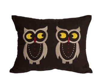 Owls Lumbar Pillow Cover, Brown Linen Pillow Owls Embroidery, Bird Pillow Case, Owl decor, Home decoration, Pillow Shams